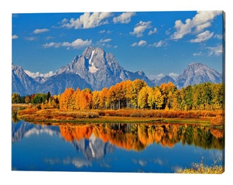 Grand Teton National Park Oxbow Bend in Autumn Stretched Canvas Print, Modern Wall Art Featuring Nature Photography From The Tetons