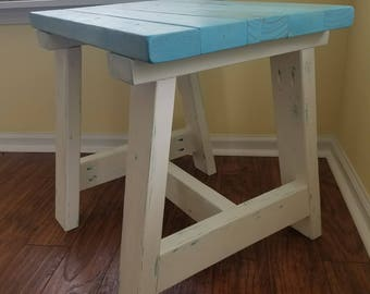 Farmhouse Rustic Two Tone Wood End Table w/ Distressed or Solid Legs