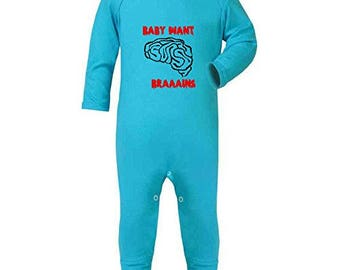 Baby Want Braaains Funny Zombie Hungry Zombies Rompersuit With Feet