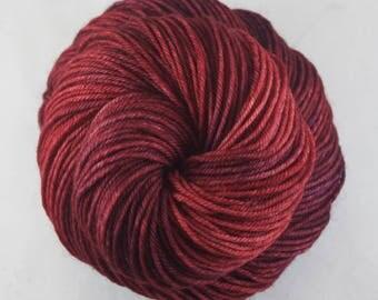Hand Dyed DK Yarn, hand dyed wool, variegated DK yarn, nylon DK yarn, red, raspberry