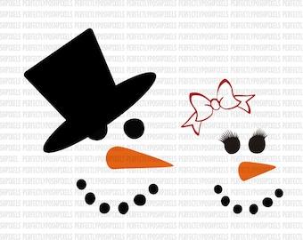 SVG Snowman Faces svg Christmas svg Template Stencil Cut Files Silhouette Cameo Cricut Design Space Heat Transfer Vinyl Monogram Frame