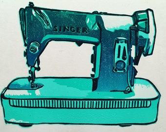 Sawing machine - Singer lino cut