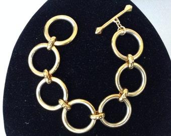 RLL Gold Tone Circle Link Toggle Clasp Bracelet