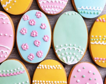 Colourful Easter Egg Cookies - Iced Easter Biscuits - Decorated Cookies - Easter Gift