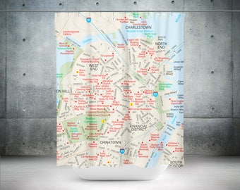 Boston Shower Curtain | Boston Bath Curtain | Boston Bath Décor | Boston Bathroom Décor | Boston Bathroom | Boston Shower | Boston Bathroom