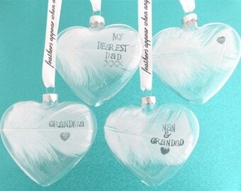 Real Personalised White Feather Memorial Bauble. Name / Date Stamped. Glass Heart Funeral / Memorial / Sympathy Keepsake Memento