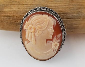Borriello cameo sterling silver Gennaro Borriello carved cameo Red gold cameo carved shell cameo vintage girl cameo brooch pendant OQ2445