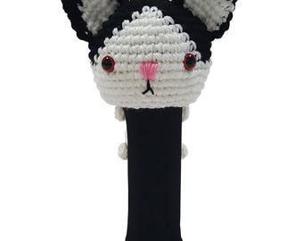 Hand Stitched Yarn Animal Driver/Wood Golf Head Cover - Black/White Cat
