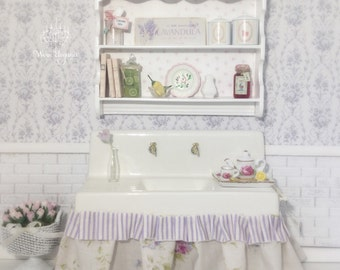 Dollhouse Miniature Sink with Display Shelf, 1:12, Accessories Included, Ruffled Farmhouse Skirting in Lilac Stripe and Florals,OOAK