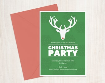 Christmas Party Invitation Printable Reindeer 5x7 , Custom Christmas Party Invitation, Digital Christmas Invitation, Christmas Party