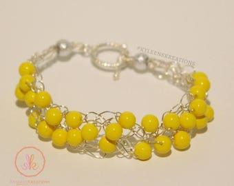 Crochet Wire Bracelet in Yellow
