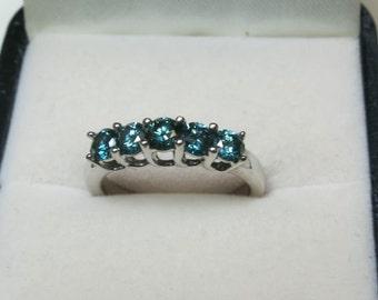 blue diamond ring 5 diamonds white gold 10k white gold