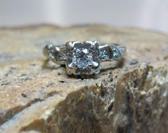 antique diamond white gold 14k engagement ring