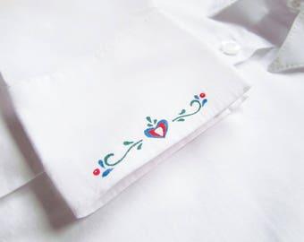 Men's shirt with handpainted folk ornament