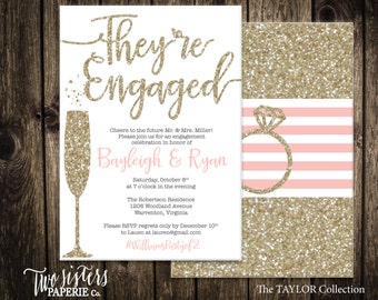 Printable Engagement Party Invitation - TAYLOR Collection - Gold Glitter Engagement Invitation - They're Engaged
