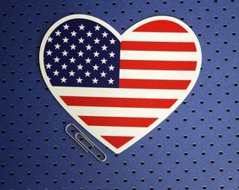 American Flag Heart Bumper Sticker