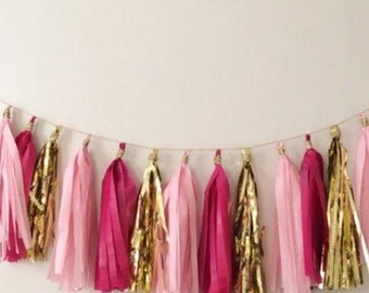 Pink & Gold Tassel Garland (Can be customized)