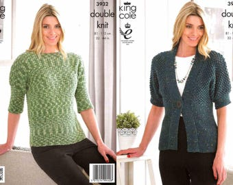 King Cole Knitting Pattern 3932~Short-Sleeved Cardigan & Top~DK~32-44""