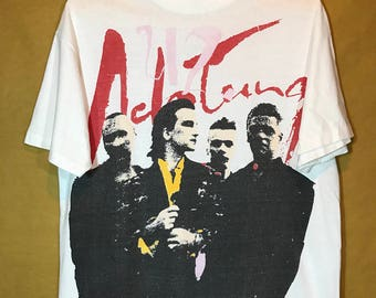 90s Vintage 1991 U2 Ach Tung Baby Tour Band T-shirt Large Size