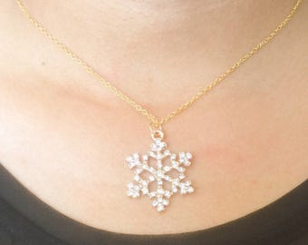 Snow Flake Pendant Necklace, Crystal Snow Flake Pendant