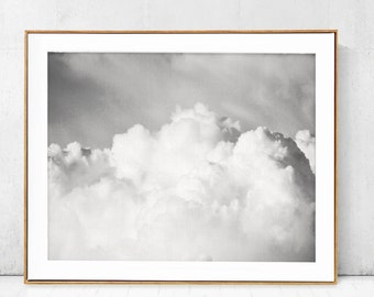 Sky Print,Blue Sky & Clouds Poster,Black and White photo,Printable Canvas,Blue decor,Large Natural Wall decor,Digital Modern Minimalist