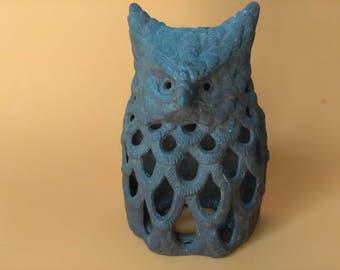 Cast Iron Metal Owl, Vintage Owl Candle Holder, Owl Wall Decor, Vintage Metal Owl
