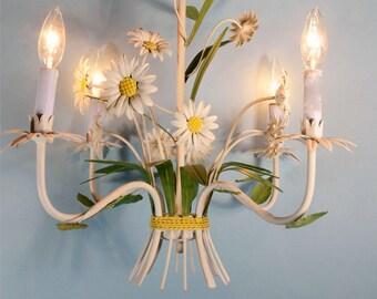 Vintage 60s Mid Century Painted Floral Tole Chandelier, Cottage Decor Toleware Daisy 4 Light Hanging Light Fixture, Mod Flower Chandelier