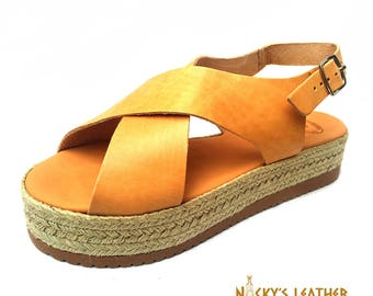 LEATHER SANDALS Platform Sandals from Full Grain Leather Handmade