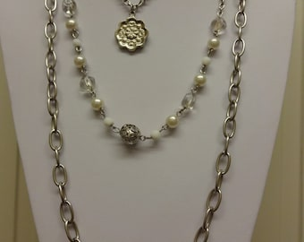 Vintage Silver Multistrand Chain Necklace, Pearl Necklace, Chain Necklace, Pearl Necklace, Waterfall Necklace