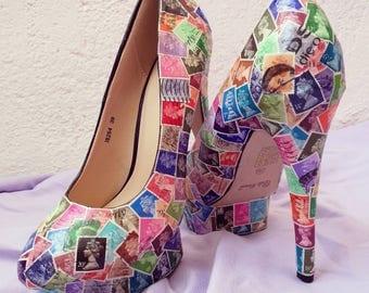Decoupage shoes, decoupage art, decoupage clothes, Queen Elizabeth, colorful shoes, pumps, platform heels, british stamps, UK art, UK gifts
