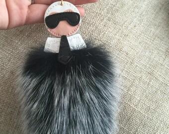 Fluffy Keychains Luxury Fox Fur Pompoms Karl Keyring