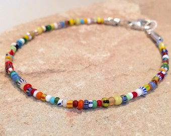 Multicolored seed bead bracelet, African seed bead bracelet, sterling silver bracelet, colorful bracelet, gift for her, gift for wife