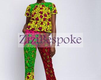 Mixed African Print Open Back Top and High Waist Trouser
