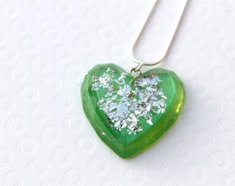 Green Heart Glitter Necklace - Heart Necklace - Resin Necklace - Statement Necklace - Resin Pendant - Resin Jewellery