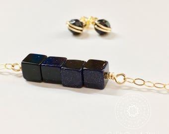 Starry Night Blue Goldstone Necklace