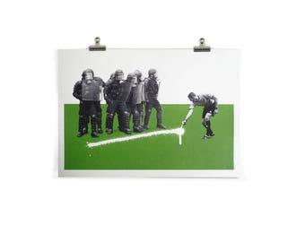 Back 10 Yards - UTD We Stand, A3, Hand Pulled, Screen Print, Halftone, White, Paper, Wall Art, Green, Football, Riot, Street Art, Modern