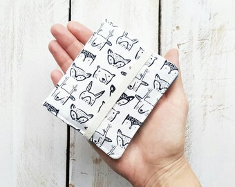 Mini Cotton Wallet, Bifold Wallet, Small Wallet, Woodland Heads in White by Wee Gallery with Cyan Pockets