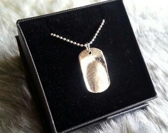 Silver Dogtag Pendant Necklace Fingerprint Jewellery Keepsake Personalised Jewelry Custom