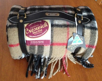 Australian wool picnic blanket and leather carry strap