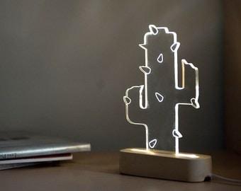 Modern concrete cactus lamp, Geometric LED lamp ,concrete table lamp, plant night light, desert themed decorative lamp