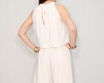 Ivory jumpsuit off white pant suit Wide leg jumpsuit Halter jumpsuit for women
