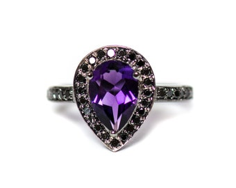 Fathers Day Sale Amethyst pear and black diamond halo ring - CHOOSE YOUR METAL