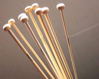 Bamboo knitting needle pairs - 35cm long