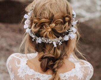 Floralen Kopfschmuck für eine Braut, Braut Haarschmuck, Blume Krone Stirnband, Hochzeit Kopfschmuck, weiße Blumen, floral Tiara, Brautkranz
