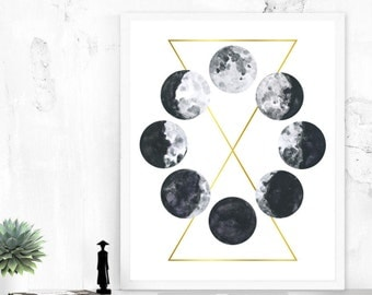 Watercolor Moon Phases, Printable Art - Moon Print Galaxy Space Grunge Science Digital Download Astronomy Geometric Art Black White Gold