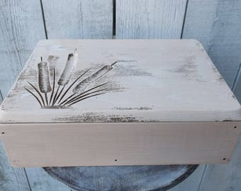 Keepsake Box Vintage Hand Carved Wood Box Shabby Cottage Chic Memory Box Rustic Wedding Card Box Jewelry box