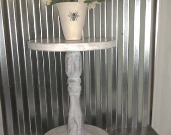 White Washed End Table Vintage French Country Side Table Shabby Country Chic  Nightstand Antique Rustic Decor