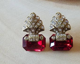 Vintage Marcasite Ruby Earrings