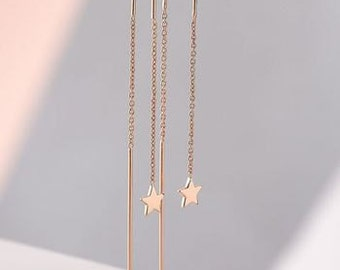 Super Star Chain Earrings in Rose Gold