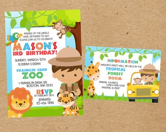 Safari/Zoo Birthday Invitation Set